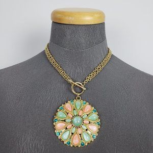 Jewelry - Gold Pink & Mint Toggle Necklace & Earring Set
